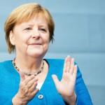 ドイツのメルケル首相=25日、西部アーヘン(AFP時事)