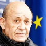 フランスのルドリアン外相=1月14日、クロアチア中部ペトリニャ(AFP時事)