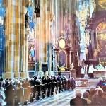 ▲モーツァルトの「戴冠ミサ」が演奏される中、日曜日礼拝が行われた(聖シュテファン大寺院内で、2021年10月17日、オーストリア国営放送のライブ中継から)