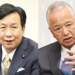 (左)インタビューに答える立憲民主党の枝野幸男代表=14日午前、東京・永田町、(右)インタビューに答える自民党の甘利明幹事長=15日午後、東京・永田町の同党本部